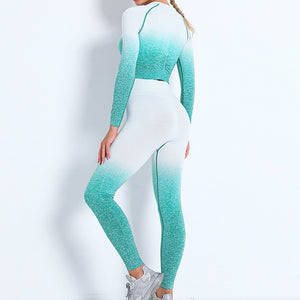 Demonstrate your holistic transition with this Ombre Seamless Crop Top & Leggings Set - Green. This matching workout set includes a pair of leggings and a crop top. Individual items are available for mixing and matching. Crop top features raglan long sleeves and flattering ruched details on center back. A pair of leggings are high-waist fitted with ribbed waistband. Made with dip-dye techniques. Each set is slightly different. Perfect for all sorts of exercise and post-gym errand running.