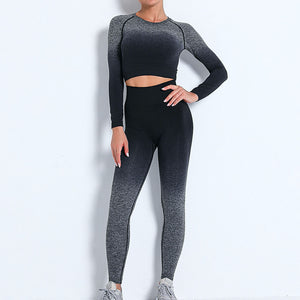 Demonstrate your holistic transition with this Ombre Seamless Crop Top & Leggings Set - Black. This matching workout set includes a pair of leggings and a crop top. Individual items are available for mixing and matching. Crop top features raglan long sleeves and flattering ruched details on center back. A pair of leggings are high-waist fitted with ribbed waistband. Made with dip-dye techniques. Each set is slightly different. Perfect for all sorts of exercise and post-gym errand running.
