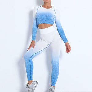 Demonstrate your holistic transition with this Ombre Seamless Crop Top & Leggings Set - Blue. This matching workout set includes a pair of leggings and a crop top. Individual items are available for mixing and matching. Crop top features raglan long sleeves and flattering ruched details on center back. A pair of leggings are high-waist fitted with ribbed waistband. Made with dip-dye techniques. Each set is slightly different. Perfect for all sorts of exercise and post-gym errand running.