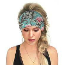 Load image into Gallery viewer, Hummingbird Bohemian Paisley Print - Paisley A Multifunctional Headband (7 Patterns) offers a secure fit to hold your hair back, and along with moisture-wicking fabric, allows you to stay fresh and focused on your workout. Perfect for all sorts of workout activities. Also suitable for daily wear as a hair band, head wrap, bandana, face cover, morning makeup and nighttime moisturizing.