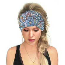 Load image into Gallery viewer, Hummingbird Bohemian Paisley Print - Paisley C Multifunctional Headband (7 Patterns) offers a secure fit to hold your hair back, and along with moisture-wicking fabric, allows you to stay fresh and focused on your workout. Perfect for all sorts of workout activities. Also suitable for daily wear as a hair band, head wrap, bandana, face cover, morning makeup and nighttime moisturizing.