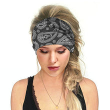 Load image into Gallery viewer, Hummingbird Bohemian Paisley Print - Paisley D Multifunctional Headband (7 Patterns) offers a secure fit to hold your hair back, and along with moisture-wicking fabric, allows you to stay fresh and focused on your workout. Perfect for all sorts of workout activities. Also suitable for daily wear as a hair band, head wrap, bandana, face cover, morning makeup and nighttime moisturizing.