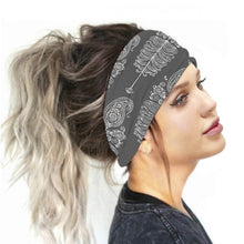Load image into Gallery viewer, Hummingbird Bohemian Paisley Print - Paisley E Multifunctional Headband (7 Patterns) offers a secure fit to hold your hair back, and along with moisture-wicking fabric, allows you to stay fresh and focused on your workout. Perfect for all sorts of workout activities. Also suitable for daily wear as a hair band, head wrap, bandana, face cover, morning makeup and nighttime moisturizing.