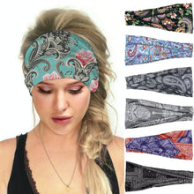Load image into Gallery viewer, Hummingbird Bohemian Paisley Print Multifunctional Headband (7 Patterns) offers a secure fit to hold your hair back, and along with moisture-wicking fabric, allows you to stay fresh and focused on your workout. Perfect for all sorts of workout activities. Also suitable for daily wear as a hair band, head wrap, bandana, face cover, morning makeup and nighttime moisturizing.