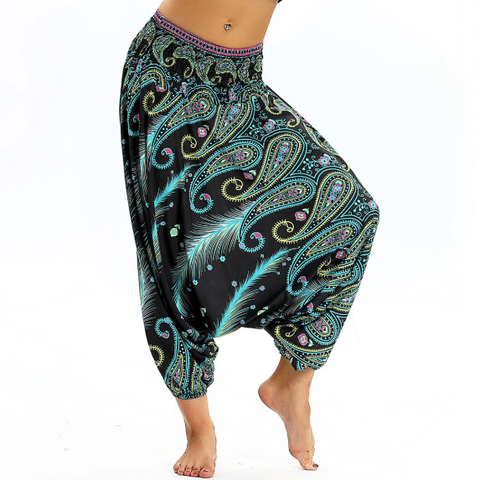 Hummingbird Paisley Print Baggy Yoga Pants