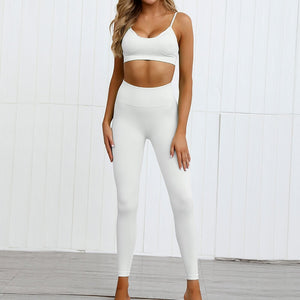 Hummingbird Pastel Seamless Leggings Set B - Cream comes with a crop tank top sports bra and a pair of high waisted leggings. Individual items are available for mixing and matching. Crop tank top sports bra is low cut and has adjustable spaghetti straps. A pair of leggings are high-rise with widened waistband that lies flat against your skin. Seamless fabrication reduces chafing during workout. This Pastel Seamless Leggings Set is a handy gym set for warm weather. Perfect for low impact workouts.