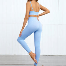Load image into Gallery viewer, Hummingbird Pastel Seamless Leggings Set B - Cornflower comes with a crop tank top sports bra and a pair of high waisted leggings. Individual items are available for mixing and matching. Crop tank top sports bra is low cut and has adjustable spaghetti straps. A pair of leggings are high-rise with widened waistband that lies flat against your skin. Seamless fabrication reduces chafing during workout. This Pastel Seamless Leggings Set is a handy gym set for warm weather. Perfect for low impact workouts.