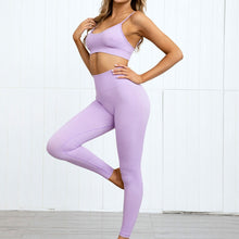 Load image into Gallery viewer, Hummingbird Pastel Seamless Leggings Set B - Lilac comes with a crop tank top sports bra and a pair of high waisted leggings. Individual items are available for mixing and matching. Crop tank top sports bra is low cut and has adjustable spaghetti straps. A pair of leggings are high-rise with widened waistband that lies flat against your skin. Seamless fabrication reduces chafing during workout. This Pastel Seamless Leggings Set is a handy gym set for warm weather. Perfect for low impact workouts.