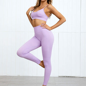 Hummingbird Pastel Seamless Leggings Set B - Lilac comes with a crop tank top sports bra and a pair of high waisted leggings. Individual items are available for mixing and matching. Crop tank top sports bra is low cut and has adjustable spaghetti straps. A pair of leggings are high-rise with widened waistband that lies flat against your skin. Seamless fabrication reduces chafing during workout. This Pastel Seamless Leggings Set is a handy gym set for warm weather. Perfect for low impact workouts.