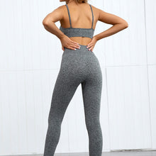 Load image into Gallery viewer, Hummingbird Pastel Seamless Leggings Set B - Heather Grey comes with a crop tank top sports bra and a pair of high waisted leggings. Individual items are available for mixing and matching. Crop tank top sports bra is low cut and has adjustable spaghetti straps. A pair of leggings are high-rise with widened waistband that lies flat against your skin. Seamless fabrication reduces chafing during workout. This Pastel Seamless Leggings Set is a handy gym set for warm weather. Perfect for low impact workouts.