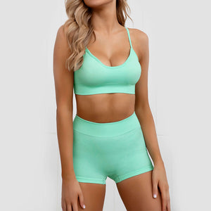 Hummingbird Pastel Seamless Biker Shorts Set A - Mint comes with a crop tank top sports bra and a pair of mid-rise biker shorts. Individual items are available for mixing and matching. Crop tank top sports bra is low cut and has adjustable spaghetti straps. A pair of fitted biker shorts is mid-rise and squat proof. This Pastel Seamless Biker Shorts Set is a handy gym set for warm weather, and can be worn alone or with a loose tank top. Perfect for low impact workouts.