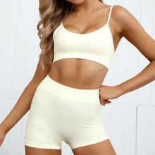 Load image into Gallery viewer, Hummingbird Pastel Seamless Biker Shorts Set A - Cream comes with a crop tank top sports bra and a pair of mid-rise biker shorts. Individual items are available for mixing and matching. Crop tank top sports bra is low cut and has adjustable spaghetti straps. A pair of fitted biker shorts is mid-rise and squat proof. This Pastel Seamless Biker Shorts Set is a handy gym set for warm weather, and can be worn alone or with a loose tank top. Perfect for low impact workouts.