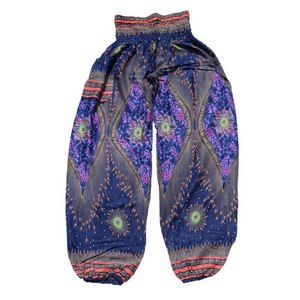 Handmade Peacock Eye Print Loose Yoga Pants (3 Colors)