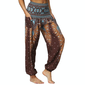 Bring yourself back in ancient Orient with these retro Peacock Smocked Waist Loose Yoga Pants. Multicolor. Side Pockets.