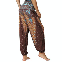 Load image into Gallery viewer, Bring yourself back in ancient Orient with these retro Peacock Smocked Waist Loose Yoga Pants. Multicolor. Side Pockets.