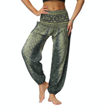 Load image into Gallery viewer, Bring yourself back in ancient Orient with these retro Peacock Smocked Waist Loose Yoga Pants. Moss Green. Side Pockets.