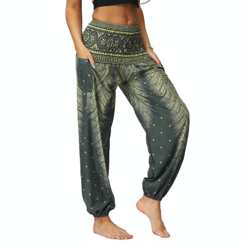 Bring yourself back in ancient Orient with these retro Peacock Smocked Waist Loose Yoga Pants. Moss Green. Side Pockets.