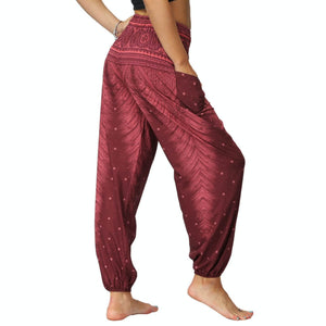Bring yourself back in ancient Orient with these retro Peacock Smocked Waist Loose Yoga Pants. Burgundy. Side Pockets.