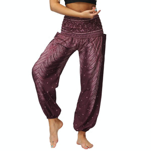 Bring yourself back in ancient Orient with these retro Peacock Smocked Waist Loose Yoga Pants. Deep Burgundy. Side Pockets.