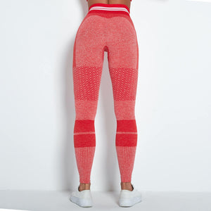 Reach your full potential this fall/winter with Hummingbird Performance Seamless Gym Yoga Leggings - Red. Featuring geometric and across the board stripe detailing, these leggings demonstrate feminine strength and energy. High-rise fitted with widened waistband. Seamless knitted fabrication reduces chafing and is camel toe free. Perfect for all sorts of indoor and outdoor activities, as well as an athleisure feel. Complete the look with our Performance Seamless Biker Shorts Set.