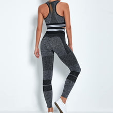 Load image into Gallery viewer, Reach your full potential this fall/winter with Hummingbird Performance Seamless Gym Yoga Leggings - Black. Featuring geometric and across the board stripe detailing, these leggings demonstrate feminine strength and energy. High-rise fitted with widened waistband. Seamless knitted fabrication reduces chafing and is camel toe free. Perfect for all sorts of indoor and outdoor activities, as well as an athleisure feel. Complete the look with our Performance Seamless Biker Shorts Set.