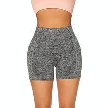 Load image into Gallery viewer, Hummingbird High Waisted Biker Shorts with Pockets (Grey) for essentials. Squat proof and not see-through.