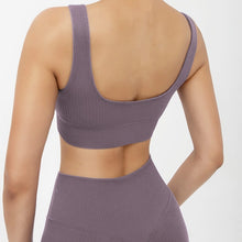 Load image into Gallery viewer, Hummingbird Pastel Classic Ribbed Seamless Sports Set - Mushy Grape containing a scoop neck, low cut back crop tank and a pair of high waisted leggings that are made of breathable and wicking fabric. This matching workout set is form fitted, perfect for low impact workout and yoga at home or at the gym, and post-gym errand running.
