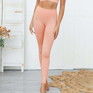 Hummingbird Pastel Classic Ribbed Seamless Sports Set - Peach containing a scoop neck, low cut back crop tank and a pair of high waisted leggings that are made of breathable and wicking fabric. This matching workout set is form fitted, perfect for low impact workout and yoga at home or at the gym, and post-gym errand running.