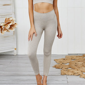 Hummingbird Pastel Classic Ribbed Seamless Sports Set - beige containing a scoop neck, low cut back crop tank and a pair of high waisted leggings that are made of breathable and wicking fabric. This matching workout set is form fitted, perfect for low impact workout and yoga at home or at the gym, and post-gym errand running.
