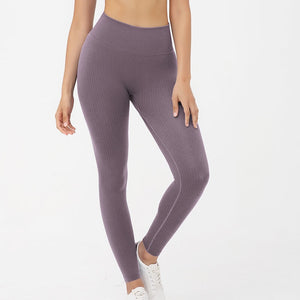 Hummingbird Pastel Classic Ribbed Seamless Sports Set - Mushy Grape containing a scoop neck, low cut back crop tank and a pair of high waisted leggings that are made of breathable and wicking fabric. This matching workout set is form fitted, perfect for low impact workout and yoga at home or at the gym, and post-gym errand running.