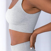 Load image into Gallery viewer, Hummingbird Pastel Classic Ribbed Seamless Sports Set - Light Grey containing a scoop neck, low cut back crop tank and a pair of high waisted leggings that are made of breathable and wicking fabric. This matching workout set is form fitted, perfect for low impact workout and yoga at home or at the gym, and post-gym errand running.