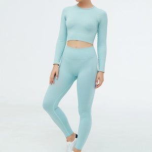Hummingbird Pastel Ribbed Seamless Raglan Long Sleeve Sports Set - Blue containing crop top and a pair of cropped leggings that are made of breathable wicking fabric, perfect for workout and yoga at home or at the gym.