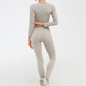 Hummingbird Pastel Ribbed Seamless Raglan Long Sleeve Sports Set - Khaki containing crop top and a pair of cropped leggings that are made of breathable wicking fabric, perfect for workout and yoga at home or at the gym.