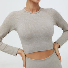 Load image into Gallery viewer, Hummingbird Ribbed Seamless Crop Top - Khaki is available as an individual item.