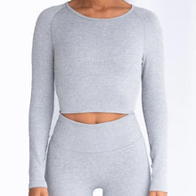 Load image into Gallery viewer, Hummingbird Ribbed Seamless Crop Top - Light Grey is available as an individual item.