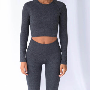 Hummingbird Pastel Ribbed Seamless Raglan Long Sleeve Sports Set - Dark Grey containing crop top and a pair of cropped leggings that are made of breathable wicking fabric, perfect for workout and yoga at home or at the gym.