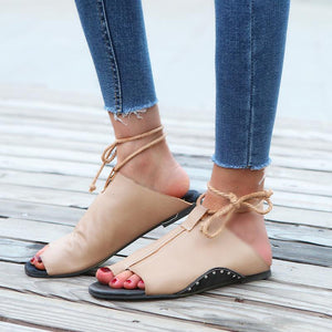 Rope Anklet Flat Leather Sandals