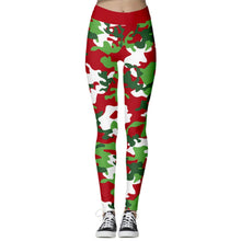 Load image into Gallery viewer, Add a seasonal style to your workout wear and enjoy a merry Christmas with these Hummingbird Santa Claus Print Christmas Leggings - Christmas Camouflage. Featuring seasonal prints from Santa Claus to camouflage, mid-rise fit and elastic waistband, these Santa Claus Print Christmas Leggings can be worn on occasions from family gathering to workouts. Digital printing technology keeps the patterns intact after wear and tear. Made of moisture-wicking, quick drying and stretchy fabric.