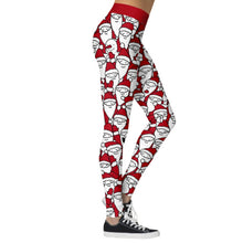 Load image into Gallery viewer, Add a seasonal style to your workout wear and enjoy a merry Christmas with these Hummingbird Santa Claus Print Christmas Leggings - Santa Claus. Featuring seasonal prints from Santa Claus to camouflage, mid-rise fit and elastic waistband, these Santa Claus Print Christmas Leggings can be worn on occasions from family gathering to workouts. Digital printing technology keeps the patterns intact after wear and tear. Made of moisture-wicking, quick drying and stretchy fabric.
