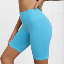 Load image into Gallery viewer, Hummingbird Seamless High Waisted Biker Shorts with underbutt panels - Light Blue