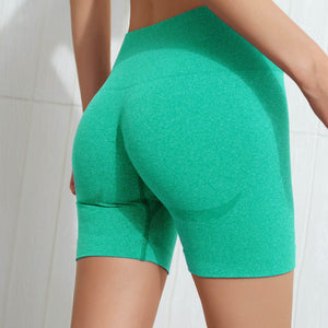 Hummingbird Seamless High Waisted Biker Shorts with underbutt panels - Light Green