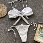 Shimmer Bow Lace Triangle Bikini Set