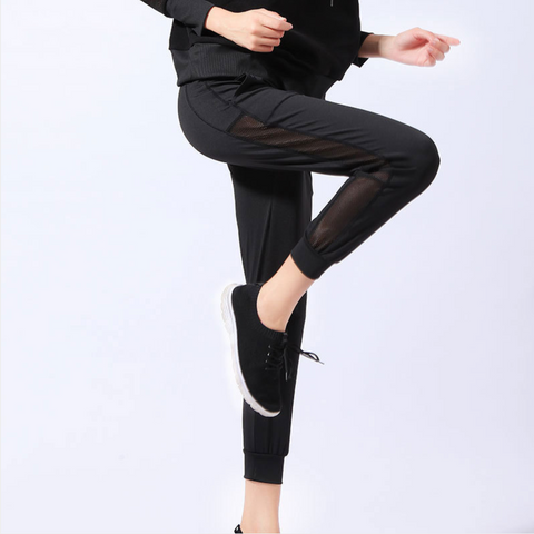 Side Mesh Drawstring Skinny Cropped Joggers