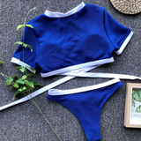 Solid Colored Crop Top Bikini Set