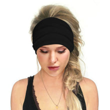 Load image into Gallery viewer, Hummingbird Solid Color Multifunctional Headband - Black offers a secure fit to hold your hair back, and along with moisture-wicking fabric, allows you to stay fresh and focused on your workout. Perfect for all sorts of workout activities. Also suitable for daily wear as a hair band, head wrap, bandana, face cover, morning makeup and nighttime moisturizing.