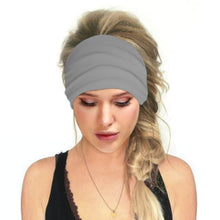Load image into Gallery viewer, Hummingbird Solid Color Multifunctional Headband - Grey offers a secure fit to hold your hair back, and along with moisture-wicking fabric, allows you to stay fresh and focused on your workout. Perfect for all sorts of workout activities. Also suitable for daily wear as a hair band, head wrap, bandana, face cover, morning makeup and nighttime moisturizing.