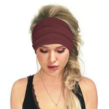 Load image into Gallery viewer, Hummingbird Solid Color Multifunctional Headband - Burgundy offers a secure fit to hold your hair back, and along with moisture-wicking fabric, allows you to stay fresh and focused on your workout. Perfect for all sorts of workout activities. Also suitable for daily wear as a hair band, head wrap, bandana, face cover, morning makeup and nighttime moisturizing.