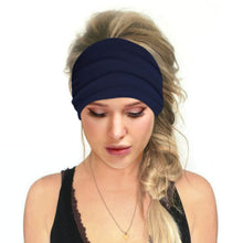 Load image into Gallery viewer, Hummingbird Solid Color Multifunctional Headband - Navy offers a secure fit to hold your hair back, and along with moisture-wicking fabric, allows you to stay fresh and focused on your workout. Perfect for all sorts of workout activities. Also suitable for daily wear as a hair band, head wrap, bandana, face cover, morning makeup and nighttime moisturizing.