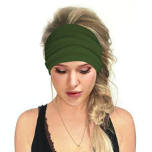 Load image into Gallery viewer, Hummingbird Solid Color Multifunctional Headband - Moss Green offers a secure fit to hold your hair back, and along with moisture-wicking fabric, allows you to stay fresh and focused on your workout. Perfect for all sorts of workout activities. Also suitable for daily wear as a hair band, head wrap, bandana, face cover, morning makeup and nighttime moisturizing.