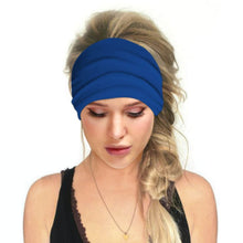 Load image into Gallery viewer, Hummingbird Solid Color Multifunctional Headband - Royal Blue offers a secure fit to hold your hair back, and along with moisture-wicking fabric, allows you to stay fresh and focused on your workout. Perfect for all sorts of workout activities. Also suitable for daily wear as a hair band, head wrap, bandana, face cover, morning makeup and nighttime moisturizing.